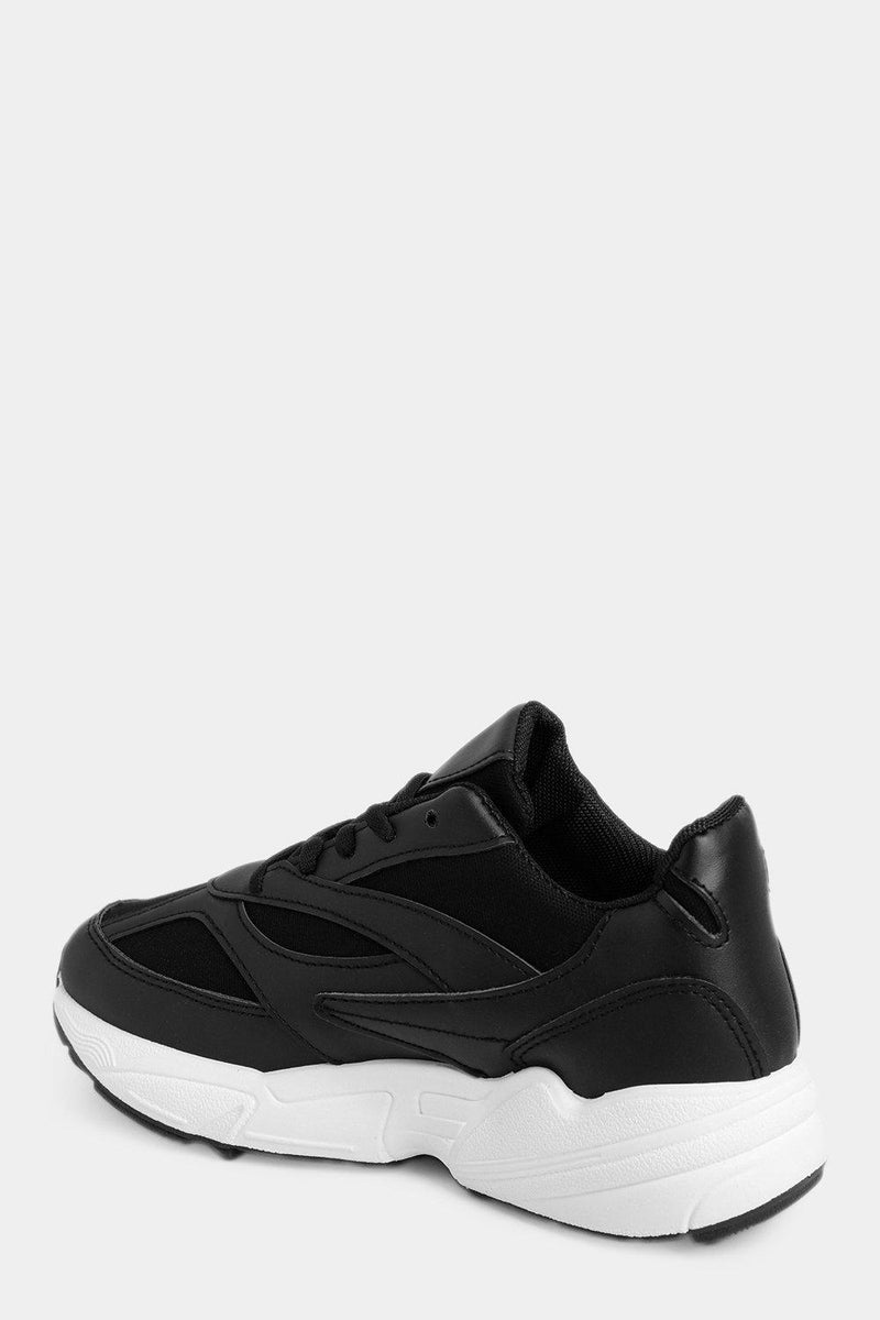 Black Chunky Trainers With Black Mesh Inserts - SinglePrice