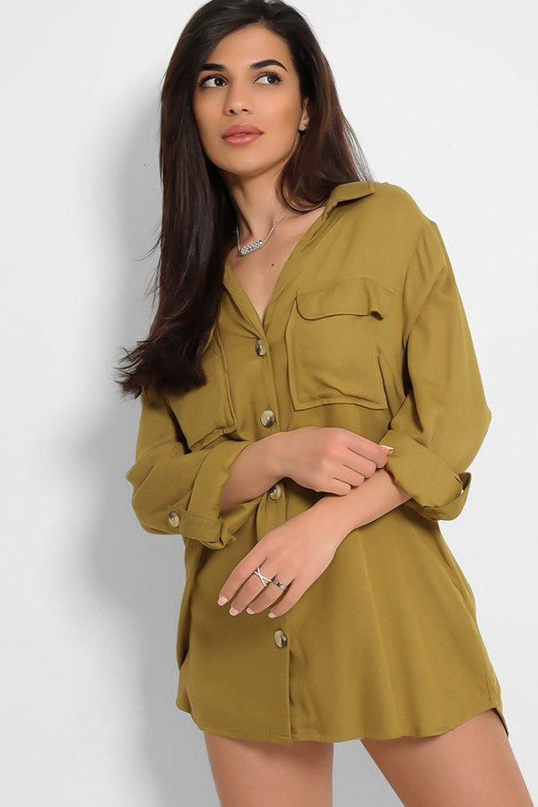 Olive Dip Hem Button Down Shirt - SinglePrice