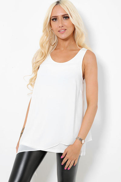 Asymmetric Hem Layered White Top-SinglePrice