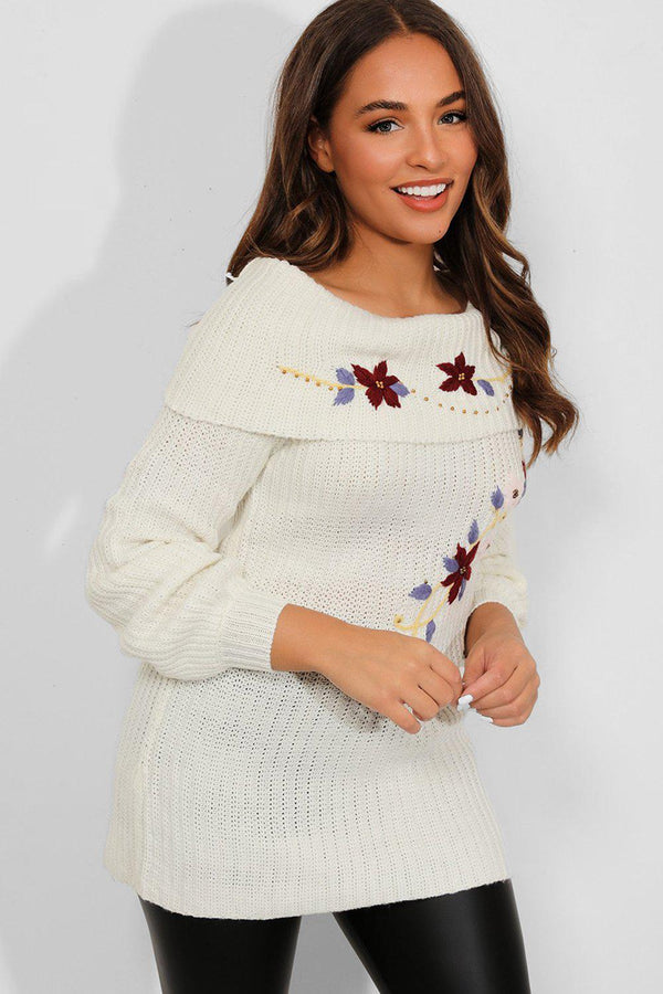 Cream Embroidered Off Shoulder Pullover