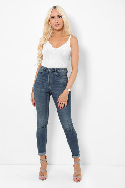 Classic Skinny Faded Blue Jeans-SinglePrice