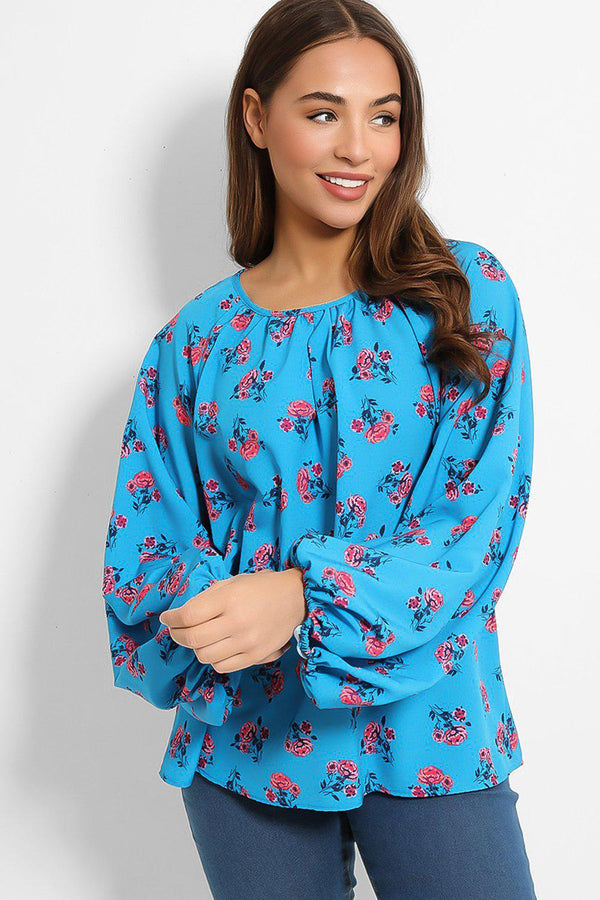 Blue Roses Print Balloon Sleeves Blouse