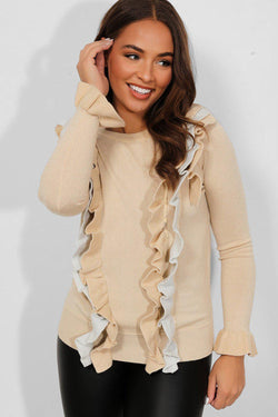 Beige Frill Detail Front Shimmer Knit Pullover - SinglePrice