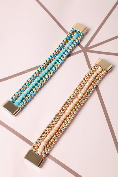 Pack Of 2 Blue And Pink Woven Chain Bracelets Set-SinglePrice