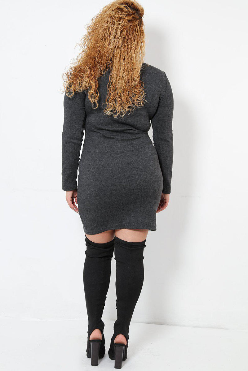 Grey Ribbed Knit Dress - SinglePrice