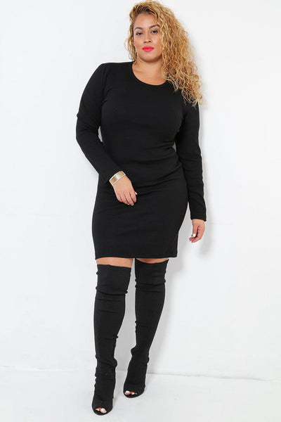 Black Ribbed Knit Dress-SinglePrice