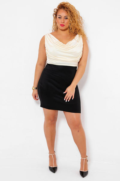 Draped Cream Silky Top Bodycon Dress-SinglePrice