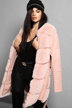 Pink Faux Fur And Vegan Leather Belted Jacket - SinglePrice