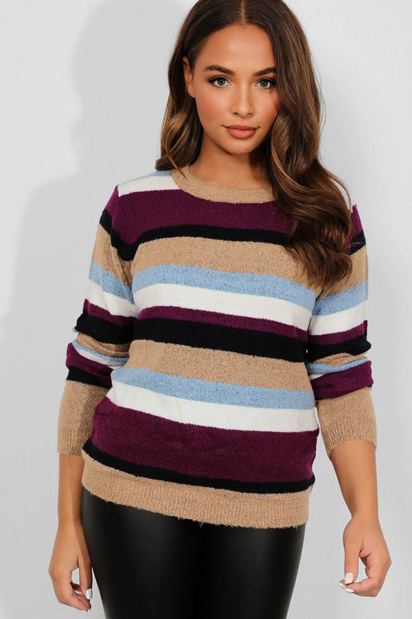 Blue Purple Stripe Soft Knit Sweater - SinglePrice