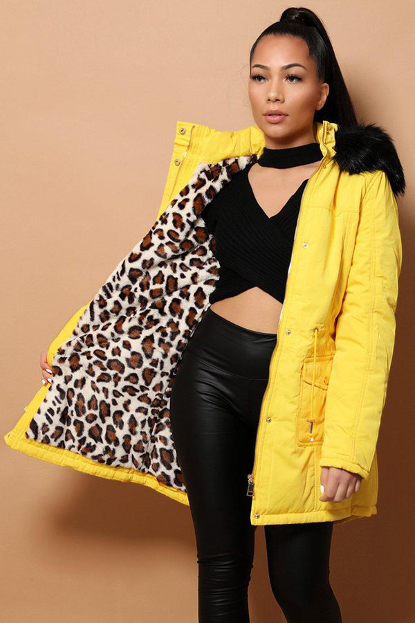 Black Faux Fur Leopard Lining Yellow Drawstring Jacket - SinglePrice
