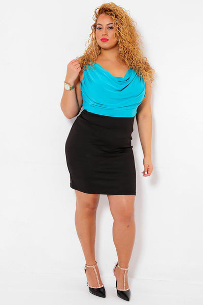 Draped Blue Silky Top Bodycon Dress-SinglePrice