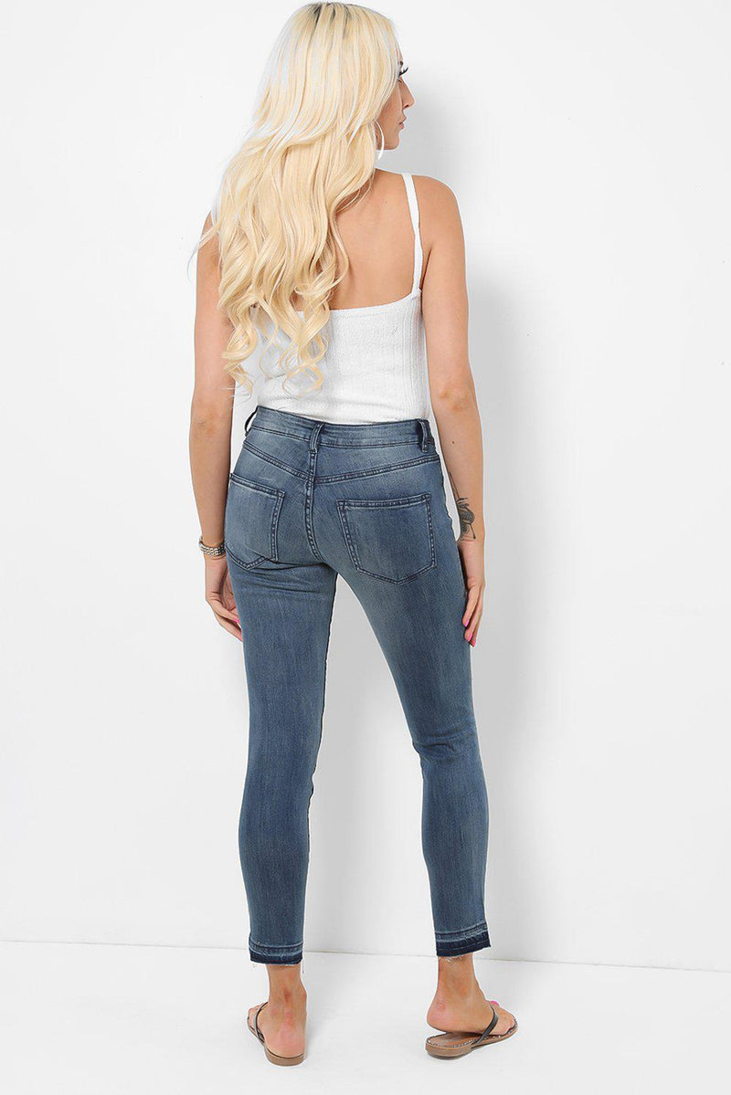 Raw Hem Ripped Knee Dark Blue Jeans - SinglePrice