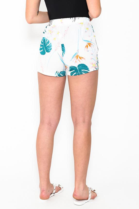 Side Stripe White Floral Print Shorts - SinglePrice
