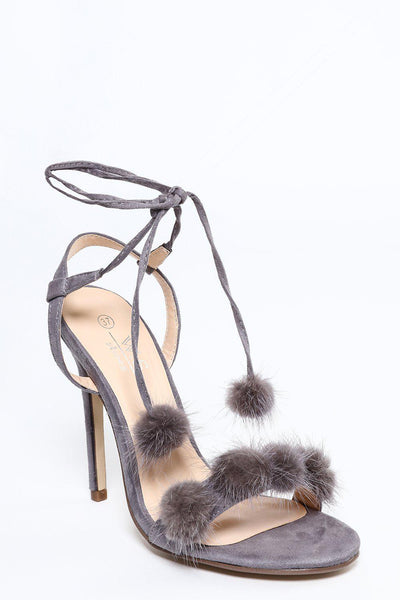 Grey Fur Pom-Poms Wrap Up Heels-SinglePrice