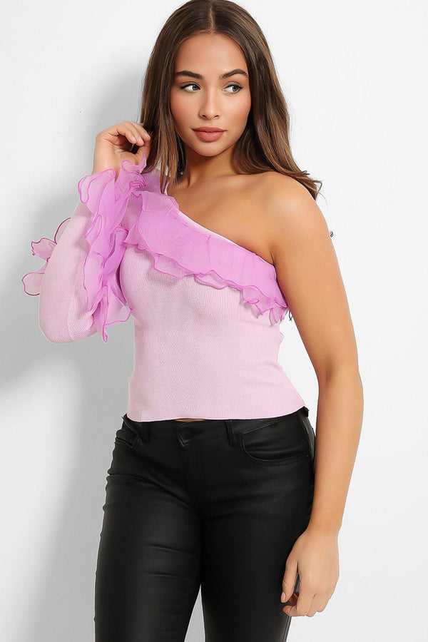 Purple Chiffon Frill One Shoulder Top - SinglePrice