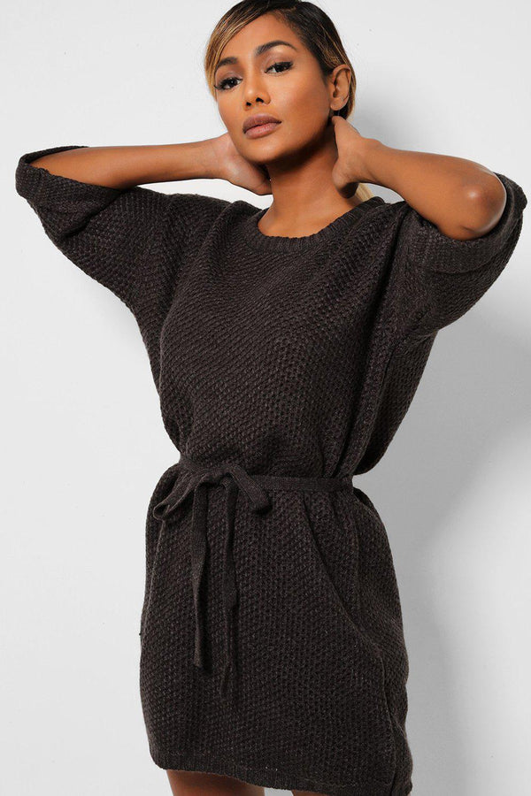 Waist Tie Short Sleeves Knitted Dress