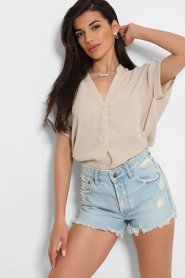 Sand V-Neck Button Down Batwing Shirt - SinglePrice