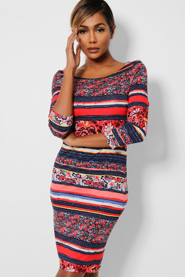 Red Navy Floral Stripes Bodycon Dress-SinglePrice