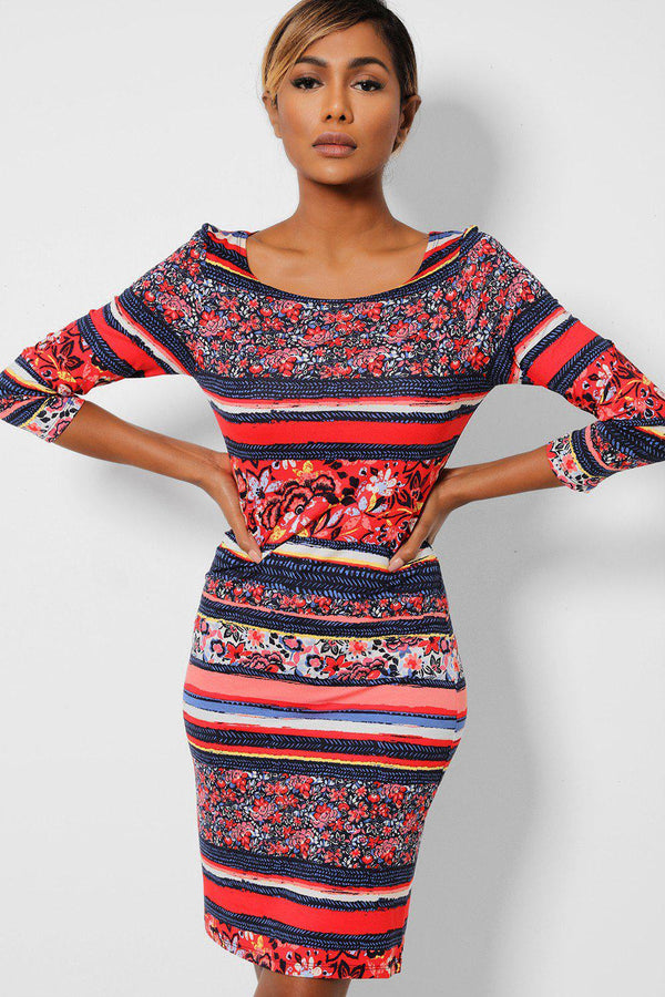 Red Navy Floral Stripes Bodycon Dress