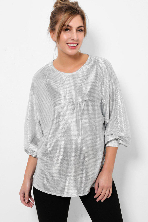 Metallic Foil Finish Light Silver Blouse-SinglePrice
