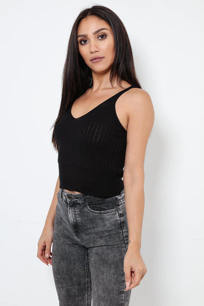 Black Knitted Tank Top-SinglePrice