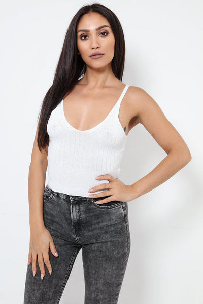 White Knitted Tank Top-SinglePrice