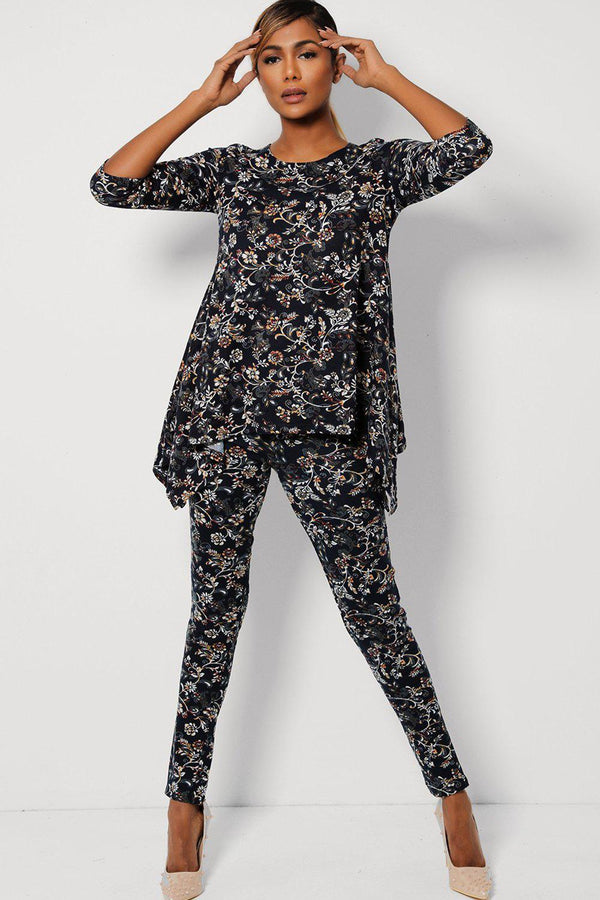 Navy Floral Print Relaxed Fit Top And Leggings Set-SinglePrice