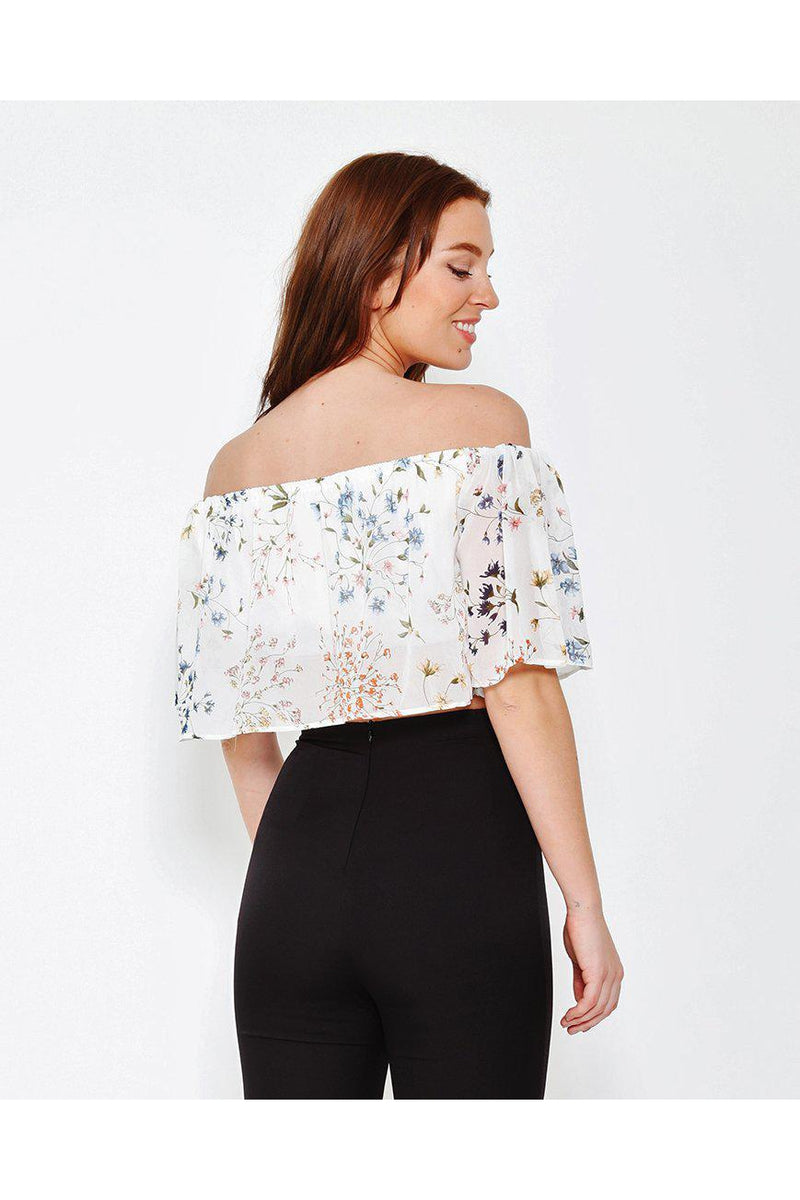 White Off Shoulder Cropped Frill Blouse-SinglePrice