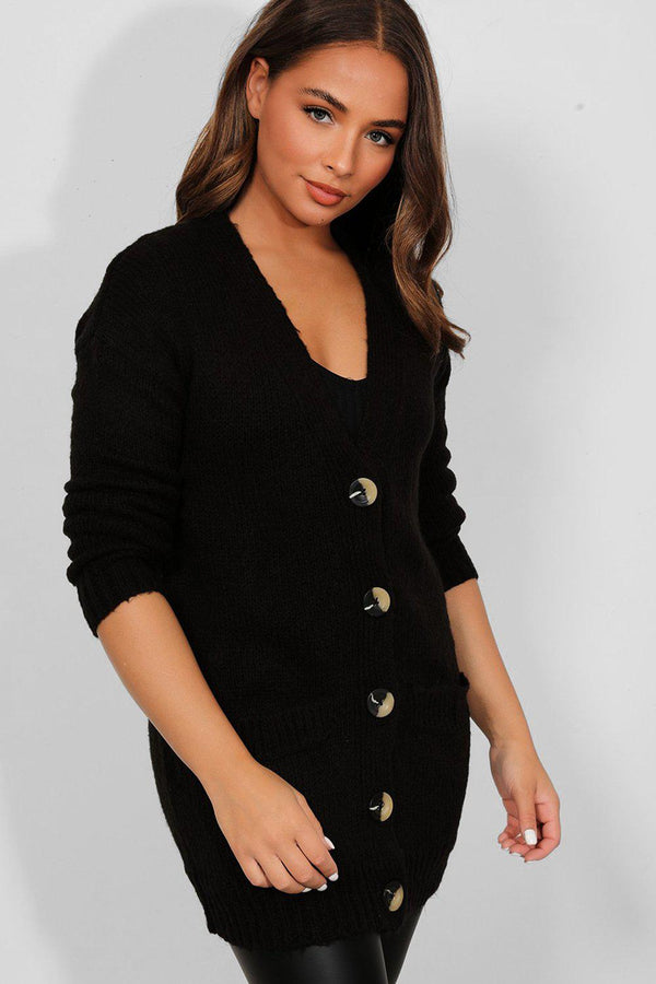 Black Flat Soft Knit Large Buttons Longline Cardigan