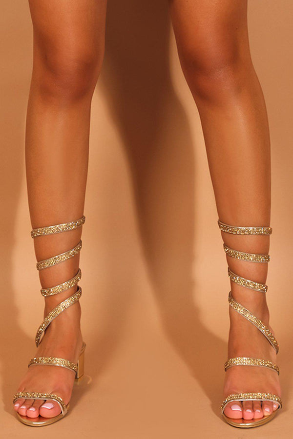 Gold Crystals Embellished Spiral Block Heel Sandals - SinglePrice