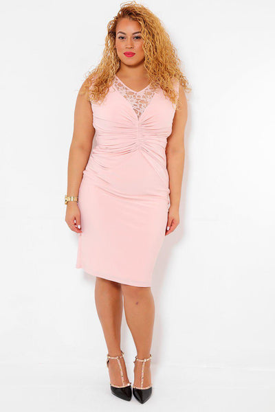 Lace Back Ruched Pink Dress-SinglePrice