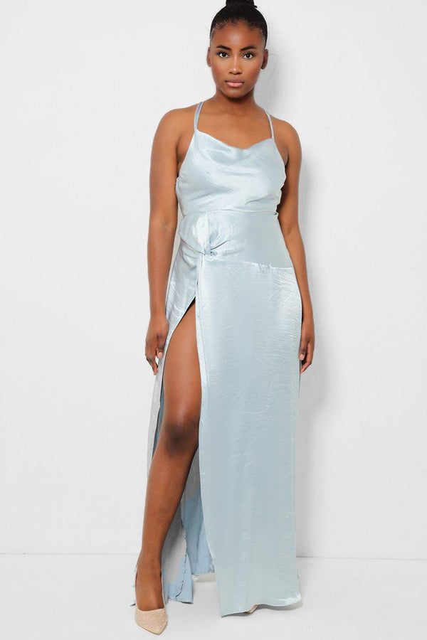 Light Blue Twist Detail High Leg Split Maxi Dress - SinglePrice