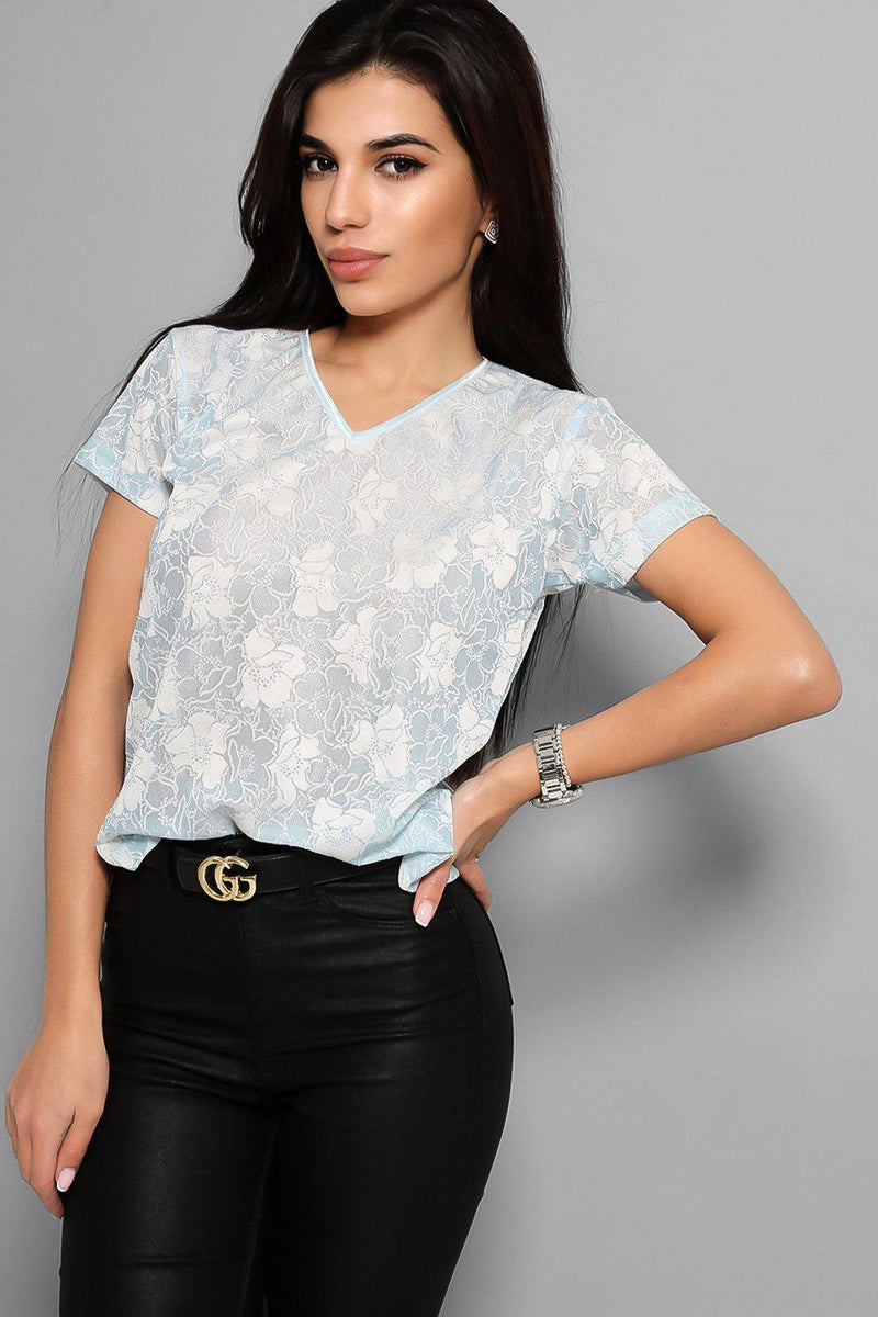 Light Blue V-Neck Lace Top - SinglePrice