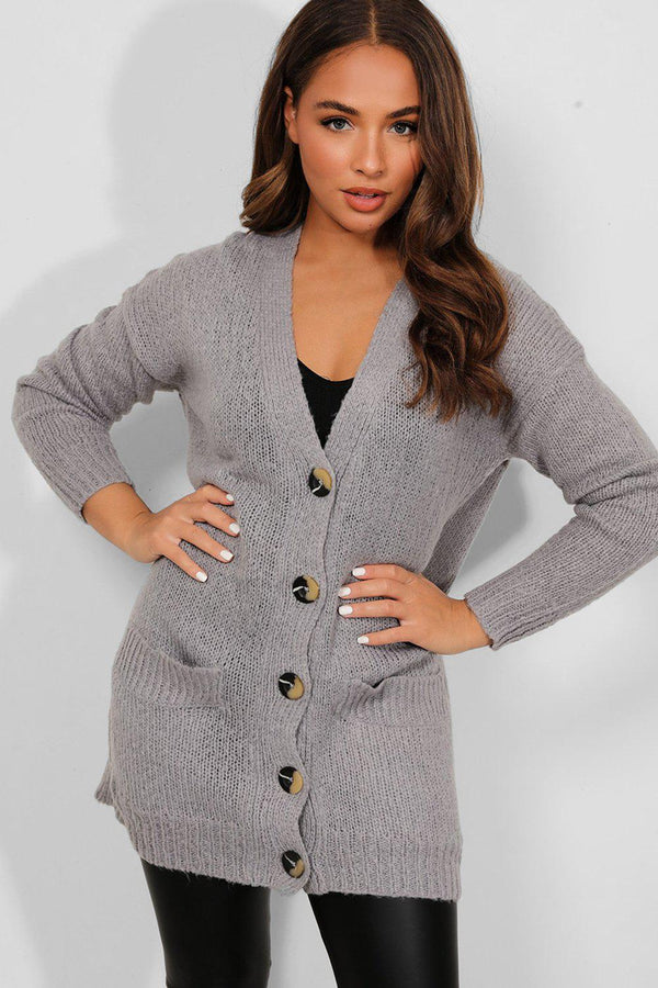 Grey Flat Soft Knit Large Buttons Longline Cardigan