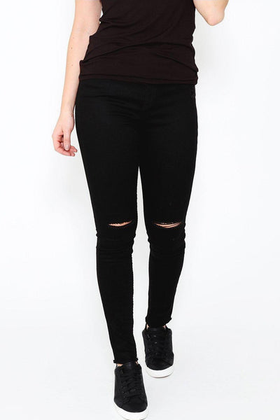 Ripped Knee Distressed Ankle Black Jeans-SinglePrice