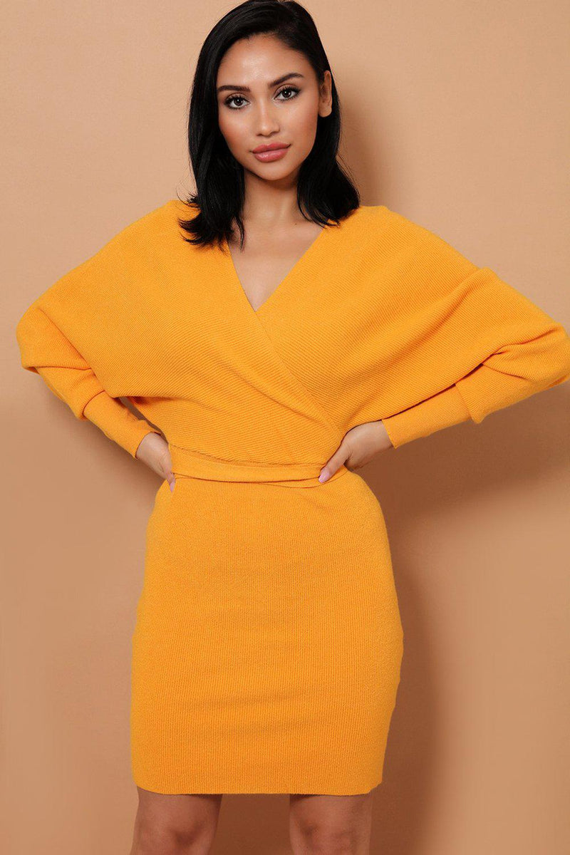 Mustard Self-Belt Wrap Front Soft Knit Batwing Dress - SinglePrice