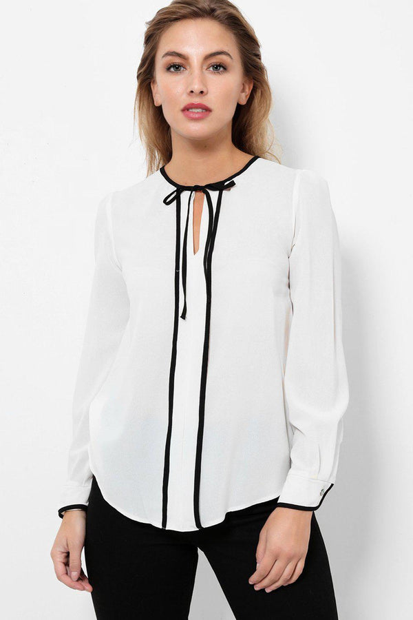 Neck Tie Black Piping White Blouse-SinglePrice