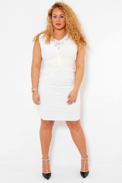 Lace Back Ruched White Dress-SinglePrice