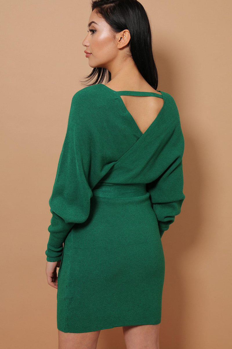 Green Self-Belt Wrap Front Soft Knit Batwing Dress - SinglePrice