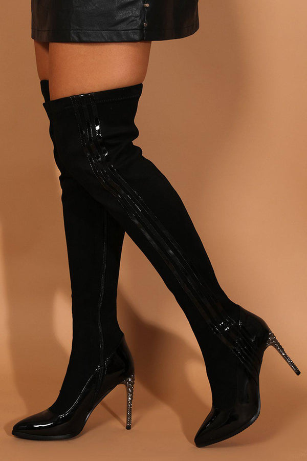 Black Patent Panels Crystals Embellished Stiletto Over The Knee Boots - SinglePrice