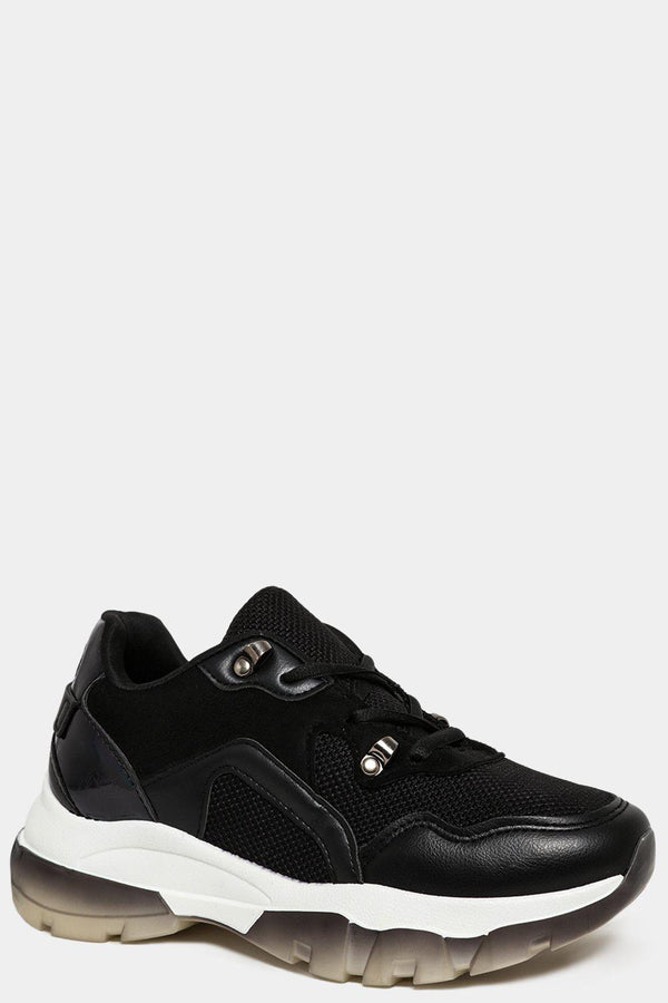 Ombre Wedge Black Trainers-SinglePrice