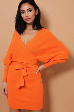 Orange Self-Belt Wrap Front Soft Knit Batwing Dress - SinglePrice