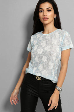 Light Blue Floral Print Semi Sheer Top - SinglePrice