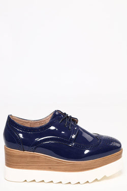 Cleated Faux Wooden Wedge Blue Patent Brogues - SinglePrice