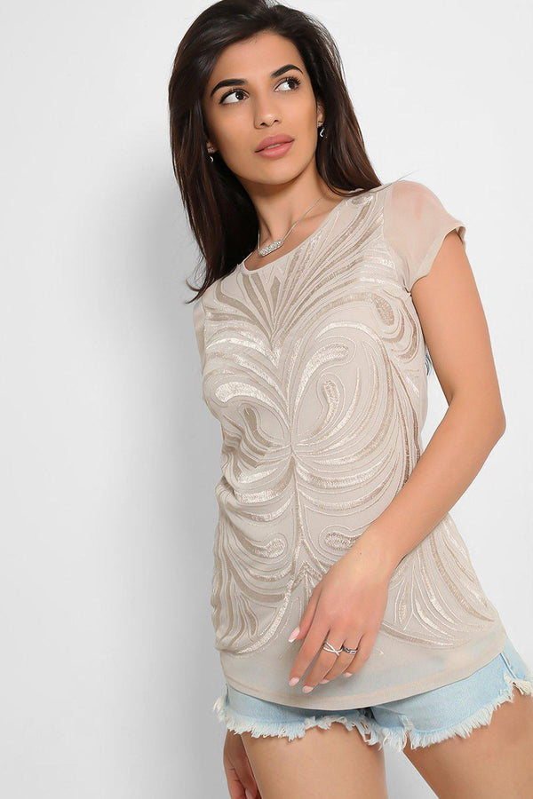Nude Embroidered Net T-Shirt - SinglePrice