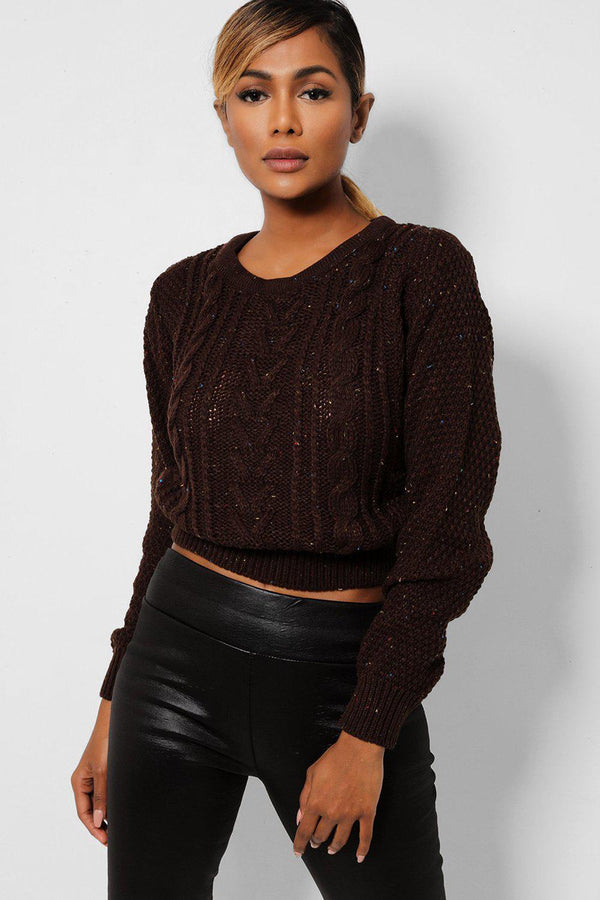 Brown Cable Knit Cropped Jumper-SinglePrice