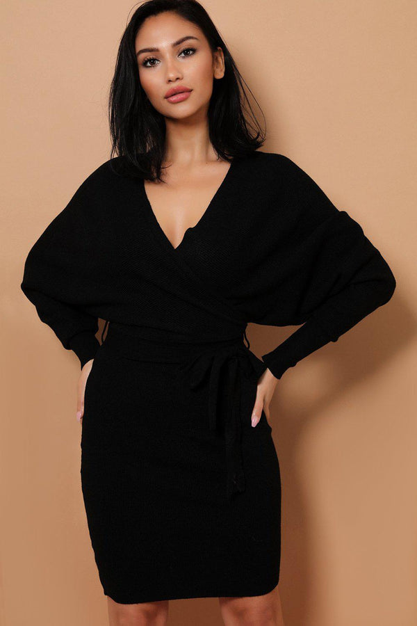 Black Self-Belt Wrap Front Soft Knit Batwing Dress - SinglePrice