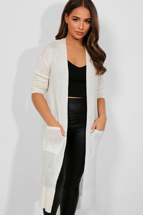 Cream Perforated Knit Open Front Longline Cardigan - SinglePrice