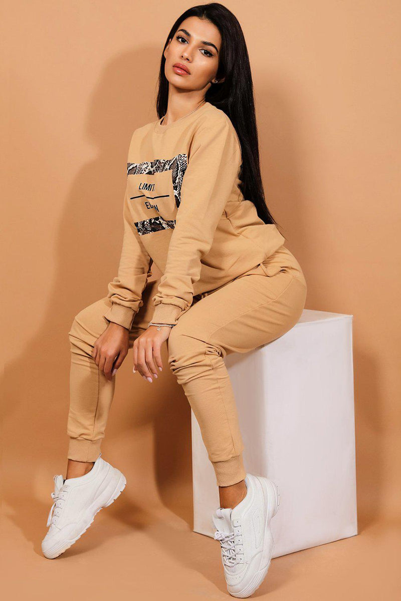Beige Snake Print Limited Edition Tracksuit - SinglePrice