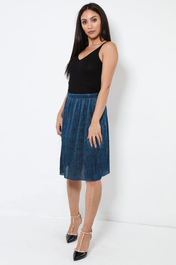 Royal Blue Shimmer Pleated Midi Skirt - SinglePrice